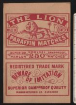 Collctable Match box label extra Large Packet size The lion #713